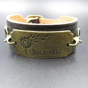"Vintage 8"" Stylish Leather Just Breathe Bracelet"